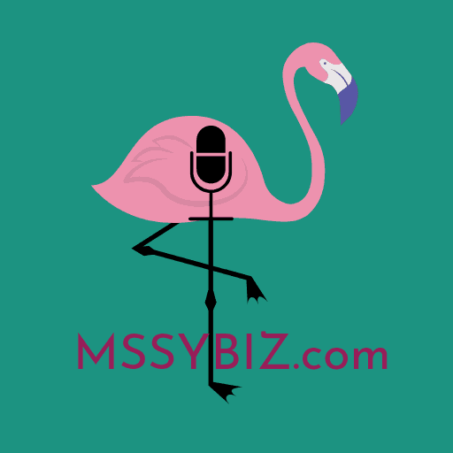 MssyBiz Site Icon Design showing a pink flamingo on one leg with a podcast mic on body and teal green background with the MISSYBiz dot com noted on bottom by Sue-Ann Bubacz