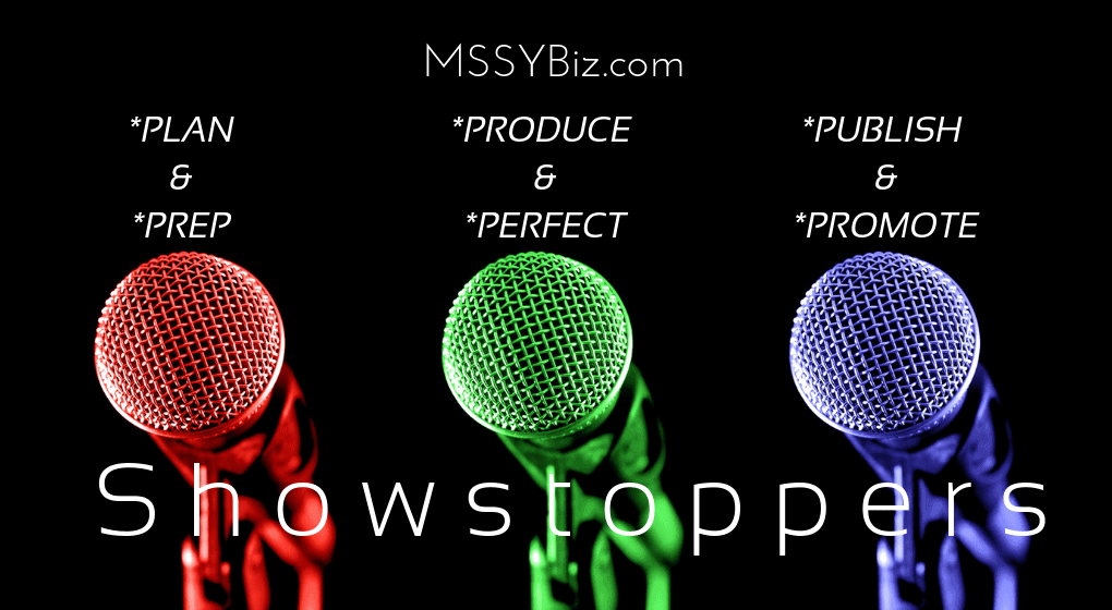 "For MSSYBiz dot com Post 2, visual 3, it shows 3 mics, one red, one green and one blue on a black background with a title ""Showstoppers"" below and two words above each mic, ""plan & Prep"", ""Produce and Perfect"", and ""Publish & Produce."""