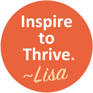 Inspire to Thrive Logo and Congratulations to Lisa as Caption!