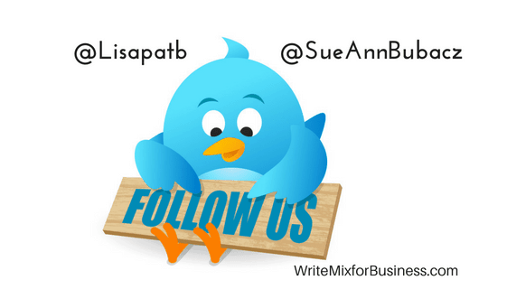 "Follow us on Twitter Visual showing blue twitter bird with a wooden sign saying ""Follow Us"" with @SueAnnBubacz and @Lisapatb twitter handles in text"