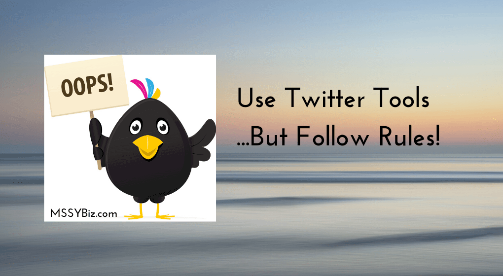 Use Twitter Tools...But Follow Rules title visual for podcast episode on Twitter for Business episode with Lisa Sicard