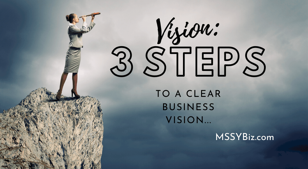 Vision: 3 Steps to a clear business vision is the text over a women dressed in business suit on a cliff looking our into blue cloudy sky with a spyglass for Title Visual MssyBiz dot com post called Vision: How to Clearly Find It.