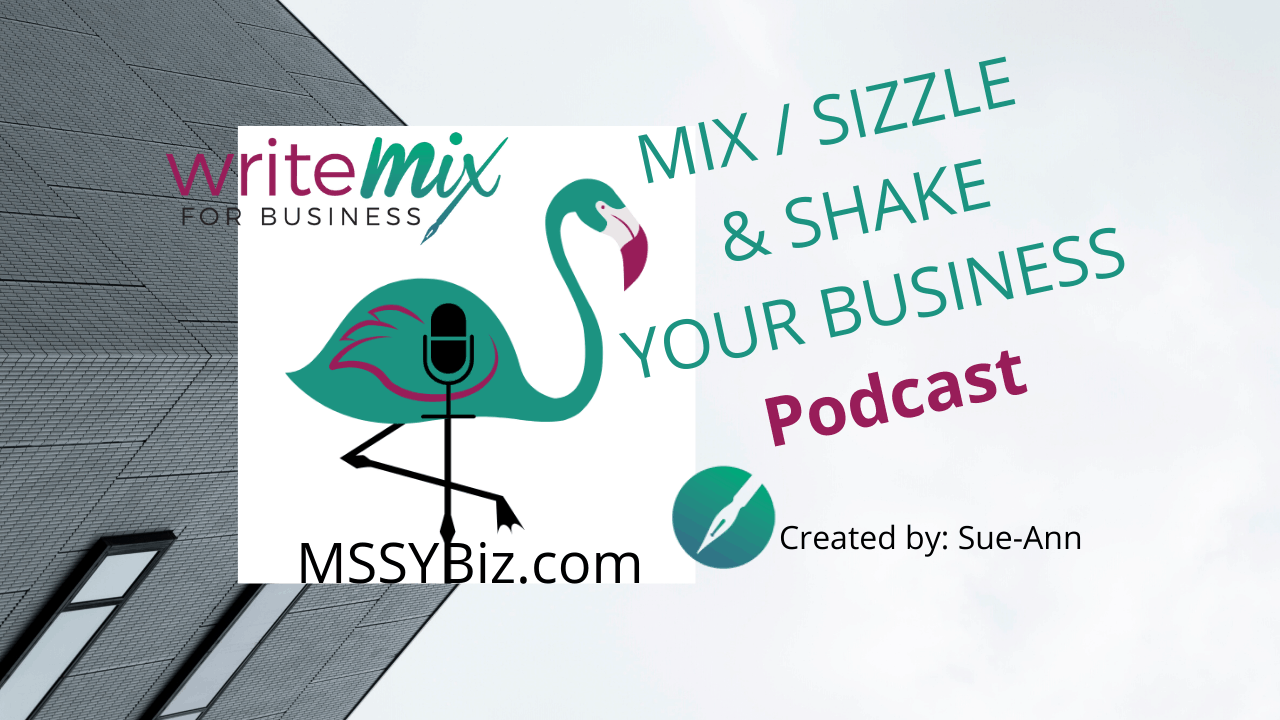 Welcome to the MSSYBiz Podcast title visual with show name, WMB logo, and flamingo with mic logo design